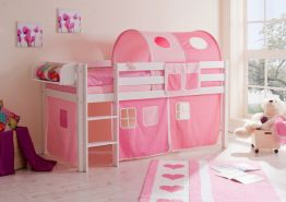 Ticaa Hochbett Malte Kiefer Weiß - Rosa-Pink