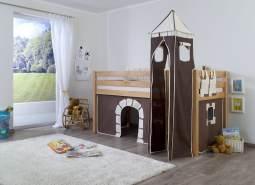 Relita Halbhohes Spielbett ALEX Buche massiv natur lackiert mit Stoffset Vorhang, Turm, Tasche