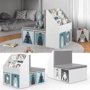 Vicco 'ONIX' Kinderregal, weiß, inkl. Sitzbank, mit 3 Fächern für Bücher und 6 Fächern, inkl. Faltboxen blau grau