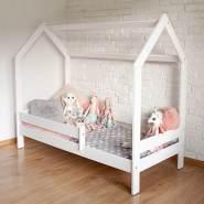 Kinderbettenwelt 'Sweety' Hausbett 80x160 cm, Weiß, Kiefer massiv, inkl. Rollrost und Matratze