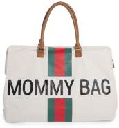 Childhome Große Wickeltasche Mommy Bag Canvas Off White Stripes Green-Red
