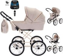 Friedrich Hugo Natureline Uni | 4 in 1 Kombi Kinderwagen | ISOFIX Set | Farbe: Harry Creme