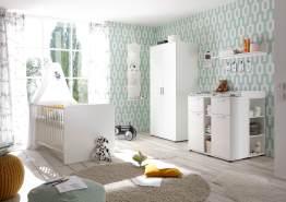 Bega 'Bibo' 4-tlg. Babyzimmer-Set, weiß, aus Bett 70x140 cm, Wickelkommode inkl. 2 Unterstellregalen, 2-trg. Kleiderschrank und Standregal