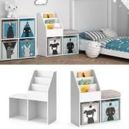 Vicco 'LUIGI' Kinderregal, weiß, mit Sitzbank, 3 Fächern für Bücher und 2 Fächern für Faltboxen
