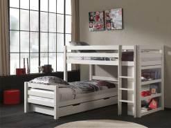 Vipack 'Pino' Winkel-Etagenbett 90x200 cm, weiß, Kiefer massiv, mit Bettschubladen