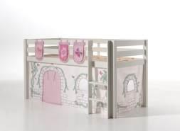 Vipack 'Pino' Spielbett weiß, mit Vorhang und 3 Taschen 'Birdy'