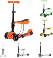 Kikkaboo Scooter 3 in 1 Rutscher 3 Räder Höhe einstellbar LED weiche Gummigriffe orange