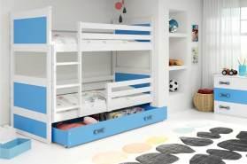 Stylefy Lora Etagenbett 90x200 cm Weiß Blau