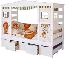 Ticaa 'Safari' Hausbett weiß inkl. Bettkasten 'Maria'