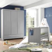 Lomado Babyzimmer Set 2tlg. Babybett mit Schlupfsprossen und Kleiderschrank NIKOSIA-78 in Arktisgrau