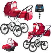 Bebebi Loving | 4 in 1 Kombi Kinderwagen | ISOFIX Set | Farbe: Red Ardent