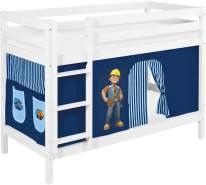 Lilokids 'Jelle' Etagenbett 90 x 190 cm, Bob der Baumeister, Kiefer massiv, mit Vorhang und Lattenroste