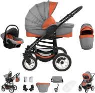 Bebebi Florenz | Hartgummireifen in Weiß | 3 in 1 Kombi Kinderwagen | Farbe: Spirito Orange Black