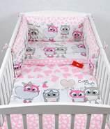 Babylux 'Eule Rosa' Kinderbettwäsche 40x60/90x120 cm