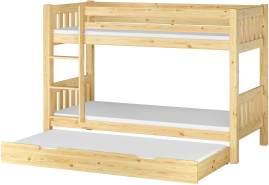 Erst-Holz Etagenbett Kiefer 90x200 inkl. Gästebettkasten, natur