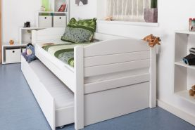 Einzelbett/Gästebett'Easy Premium Line' K1/s Voll inkl. 2. Liegeplatz und 2 Abdeckblenden, 90 x 200 cm Buche Vollholz massiv weiß lackiert