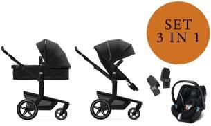 Joolz 'Day+' Kombikinderwangen 3in1 2020 in Brilliant Black, inkl. Cybex Aton 5 Babyschale in Soho Grey