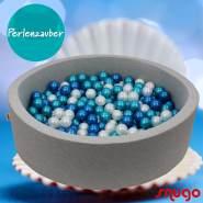 Bio Premium Bällebad PERLENZAUBER in hellgrau mit 300 Bällen aus Zuckerrohr