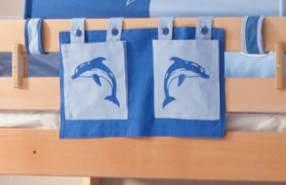 Stofftasche Seitentasche Hängetasche für Hochbett Etagenbett Blau/Delfin