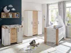 Babyzimmer Micha Set 1 artisan weiss asteiche 4 tlg