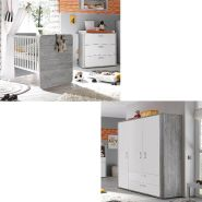 Storado 'Frieda' 4-tlg. Babyzimmer-Set vintage wood/grey weiß matt lack