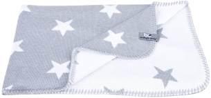 Babydecke Strickdecke Sterne 90 x 75 cm, Grau/Weiss