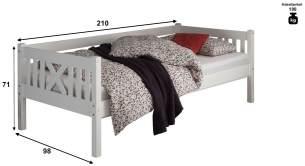 Bega 'Trevi' Kinderbett 90x200 cm, weiß, Kiefer massiv, inkl. Lattenrost