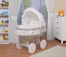 WALDIN Stubenwagen-Set mit Ausstattung, Ausstattung weiß, Gestell/Räder weiß lackiert