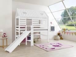 Relita 'Tom´s Hütte' Spielbett mit Rutsche, Buche massiv, weiß lackiert