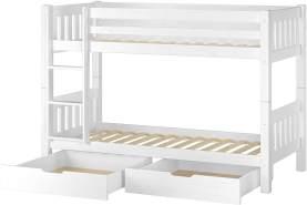 Erst-Holz Etagenbett Kiefer 90x200 cm inkl. Bettkasten, weiß