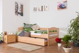 Einzelbett/Funktionsbett'Easy Premium Line' K1/h/s inkl. 2. Liegeplatz und 2 Abdeckblenden, 90 x 200 cm Buche Vollholz massiv Natur
