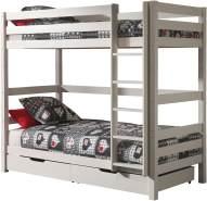 Vipack 'Pino' hohes Etagenbett 90x200 cm, weiß, Kiefer massiv, inkl. Bettschubladen