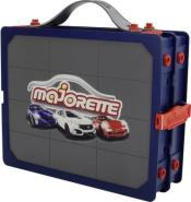 Majorette Carry Case, Aufbewahrungsbox für 24 Autos, Sammelkoffer und Setzkasten, Tragegriff, Vitrine zum Aufhängen an der Wand, inkl. 1 Spielzeugauto, geeignet für 7,5 cm Fahrzeuge, mehrfarbig