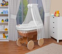 WALDIN Baby Stubenwagen-Set mit Ausstattung, Gestell/Räder natur, Ausstattung weiß
