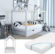 VitaliSpa 'Wiki' Hausbett weiß, 90x200 cm, inkl. Schubladen und Matratze