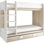 Stella Trading 'Maja' Etagenbett 90x200 cm, Eiche Sonoma/Weiß, inkl. Bettschublade