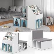 Vicco 'ONIX' Kinderregal, weiß, inkl. Sitzbank, mit 3 Fächern für Bücher und 6 Fächern für Faltboxen (ohne Faltboxen)