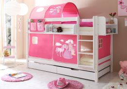 Ticaa Etagenbett Marcel Kiefer Weiß - Horse Pink