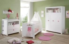 Trendteam 'Olivia' 4-tlg. Babyzimmer-Set, weiß/rosa, aus Bett 70x140 cm, Kleiderschrank, Wickelkommode mit Unterstellregal, Wandboard