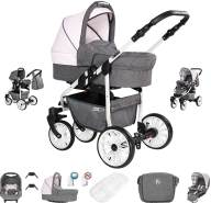 Friedrich Hugo Berlin | 3 in 1 Kombi Kinderwagen| Luftreifen | Farbe: Grey and Light Rose Day