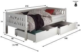 Bega 'Trevi' Kinderbett 90x200 cm, weiß, Kiefer massiv, inkl. 2 Bettkästen, Lattenrost und Matratze (blau)