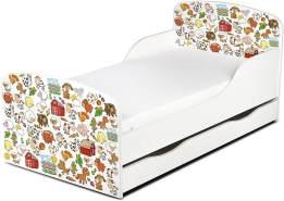 Leomark Kinderbett 70x140 cm, Nutztiere, mit Matratze, Schublade und Lattenrost