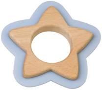 Saro Beißspielzeug Stern Holz und Silikon 10 cm eisblau