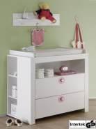 Wickelkommode Set Olivia in weiß und rosa mit 2x Regal