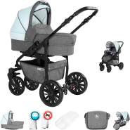 Friedrich Hugo Berlin | 2 in 1 Kombi Kinderwagen | Luftreifen | Farbe: Grey and Light Blue Night