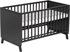 Schardt 'Miami Black' Kombi-Kinderbett 70x140 cm, schwarz, 3-fach höhenverstellbar, 3 Schlupfsprossen