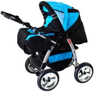 iCaddy 3 in 1 Kombi Kinderwagen Komplettset mit Autositz Cosmic Black & Aqua mit Isofix-Ausstattung ohne Winterfußsack mit Sonnenschirm