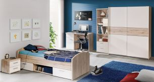 Forte 'Jesper' 5-tlg. Kinderzimmer-Set, sandeiche/weiß, aus Bett 90x200 cm, Nachttisch, Kleiderschrank, Schreibtisch und Regal