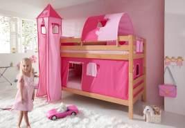 Etagenbett BENI Buche massiv natur lackiert mit Textilset pink/rosa/herz
