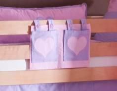 Stofftasche Seitentasche Hängetasche für Hochbett Etagenbett Lila/Rosa